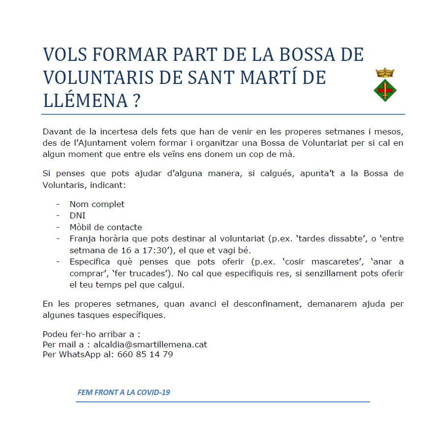 Bossa de voluntaris